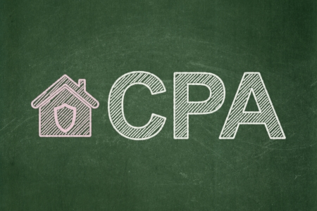 cpa: Business concept: Home icon and text CPA on Green chalkboard background, 3d render