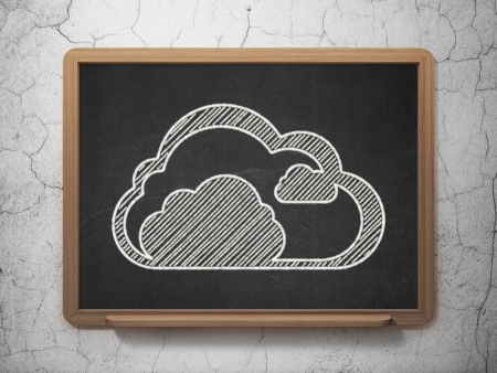 Cloud computing concept: Cloud icon on Black chalkboard on grunge wall background, 3d render photo