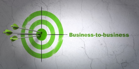 Success business concept: arrows hitting the center of target, Green Business-to-business on wall background, 3d render photo