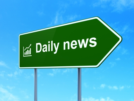 News concept: Daily News and Growth Graph icon on green road (highway) sign, clear blue sky background, 3d render photo