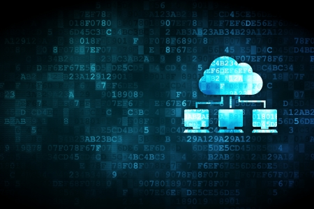 Cloud computing concept: pixelated Cloud Network icon on digital background, empty copyspace for card, text, advertising, 3d render 写真素材