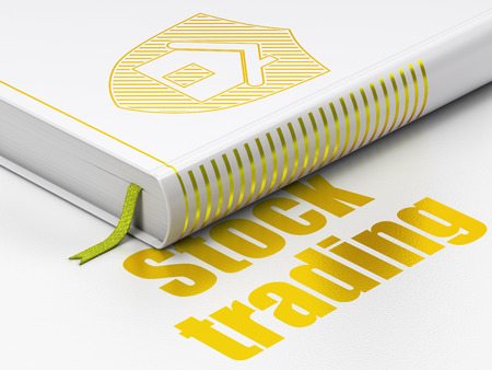 Finance concept: closed book with Gold Shield icon and text Stock Trading on floor, white background, 3d render photo