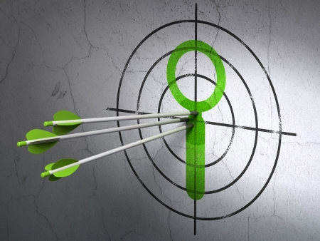 Success Data concept: arrows hitting the center of Green Search target on wall background, 3d render photo