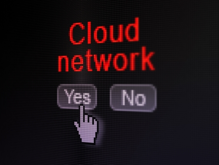 Cloud computing concept: buttons yes and no with pixelated word Cloud Network and Hand cursor on digital computer screen, selected focus 3d render photo