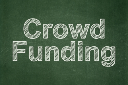 buisnes: Business concept: text Crowd Funding on Green chalkboard background, 3d render Stock Photo