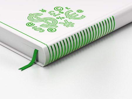 News concept: closed book with Green Finance Symbol icon on floor, white background, 3d render photo