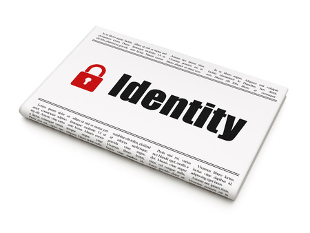 Protection concept: newspaper headline Identity and Closed Padlock icon on White background, 3d render photo