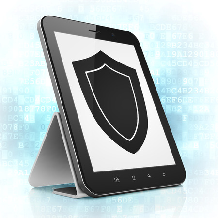 Security concept: black tablet pc computer with Shield icon on display. Modern portable touch pad on Blue Digital background, 3d render photo