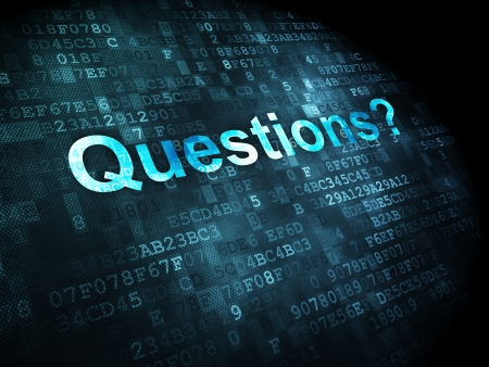 Education concept: pixelated words Questions? on digital background, 3d render Stock Photo