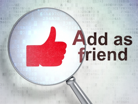 add as friend: Social network concept: magnifying optical glass with Thumb Up icon and Add as Friend word on digital background, 3d render