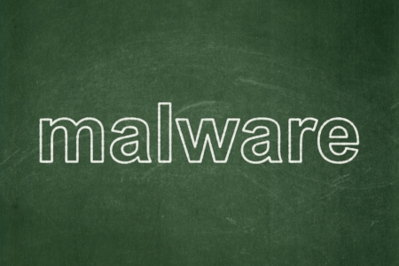 Protection concept: text Malware on Green chalkboard background, 3d render photo