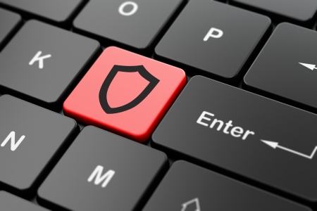 Safety concept: computer keyboard with Contoured Shield icon on enter button background, 3d render Stock Photo - 24190055