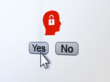 Finance concept: buttons yes and no with pixelated Head With Padlock icon and Arrow cursor on digital computer screen, selected focus 3d render photo