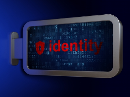 Protection concept: Identity and Shield With Keyhole on advertising billboard background, 3d render photo