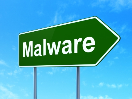 Safety concept: Malware on green road (highway) sign, clear blue sky background, 3d render Stock Photo - 24190079