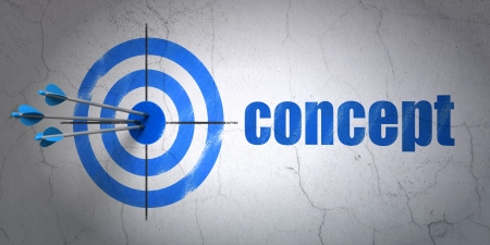 Success advertising concept: arrows hitting the center of target, Blue Concept on wall background, 3d render photo