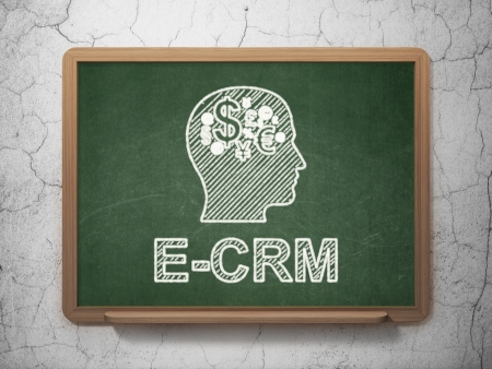 ecrm: Business concept: Head With Finance Symbol icon and text E-CRM on Green chalkboard on grunge wall background, 3d render