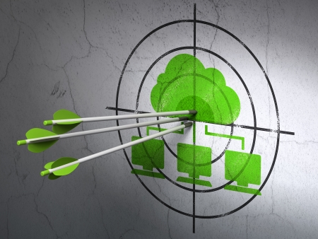 Success cloud networking concept: arrows hitting the center of Green Cloud Network target on wall background, 3d render photo