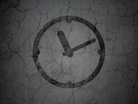 Time concept: Black Clock on grunge textured concrete wall background, 3d render photo