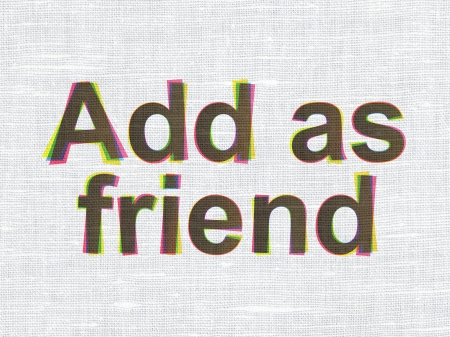 Social network concept: CMYK Add as Friend on linen fabric texture background, 3d render photo