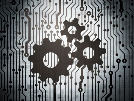 Advertising concept: circuit board with  Gears icon, 3d render photo