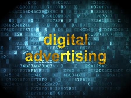 Marketing concept: pixelated words Digital Advertising on digital background, 3d render photo