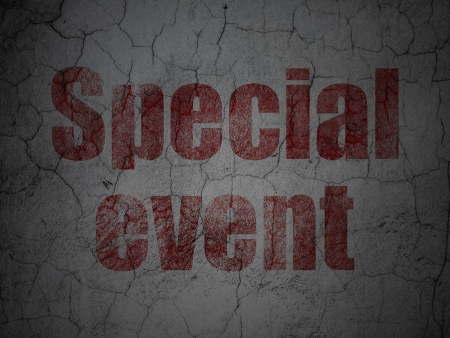 corporate event: Finance concept: Red Special Event on grunge textured concrete wall background, 3d render