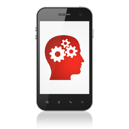 Education concept: smartphone with Head With Gears icon on display. Mobile smart phone on White background, cell phone 3d render photo