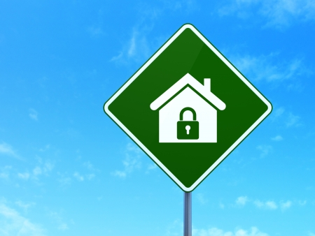 Finance concept: Home on green road (highway) sign, clear blue sky background, 3d render photo