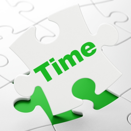 Time concept: Time on White puzzle pieces background, 3d render photo