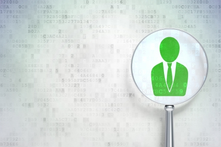 News concept: magnifying optical glass with Business Man icon on digital background, empty copyspace for card, text, advertising, 3d render photo