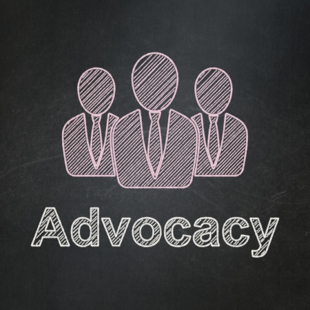 advocacy: Law concept: Business People icon and text Advocacy on Black chalkboard background, 3d render