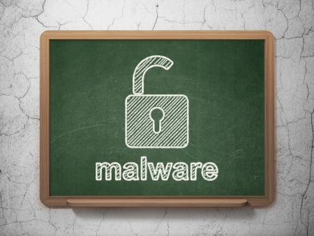 Security concept: Opened Padlock icon and text Malware on Green chalkboard on grunge wall background, 3d render photo
