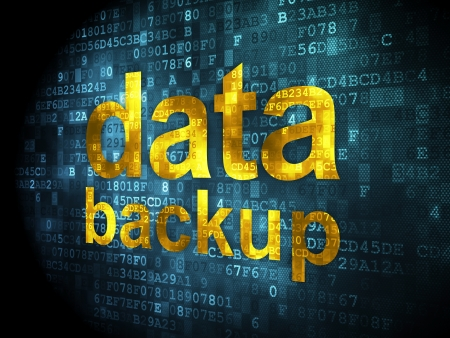 Data concept: pixelated words Data Backup on digital background, 3d render photo