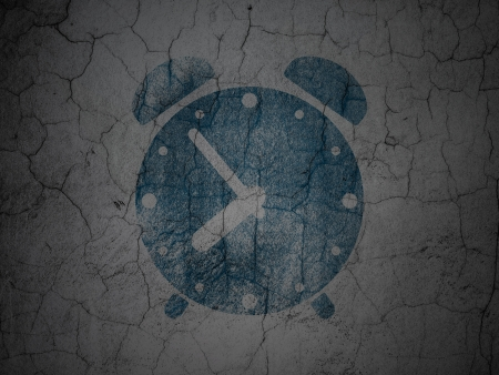 Time concept: Blue Alarm Clock on grunge textured concrete wall background, 3d render photo