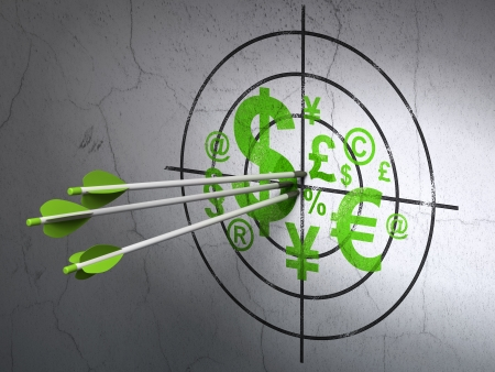buisnes: Success business concept: arrows hitting the center of Green Finance Symbol target on wall background, 3d render Stock Photo