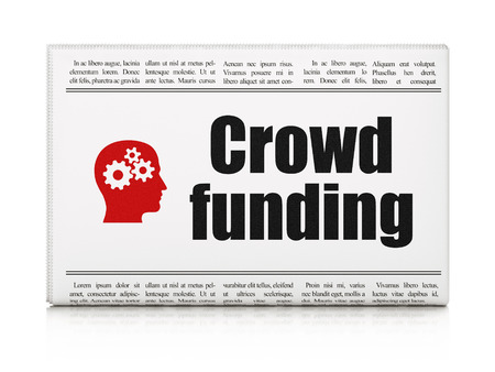 Finance concept: newspaper headline Crowd Funding and Head With Gears icon on White background, 3d render photo