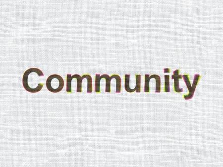 Social media concept: CMYK Community on linen fabric texture background, 3d render