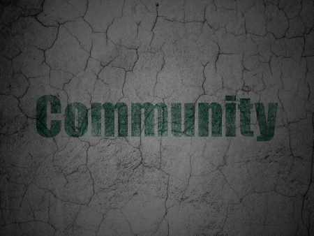 microblog: Social network concept: Green Community on grunge textured concrete wall background, 3d render