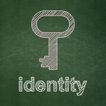 Security concept: Key icon and text Identity on Green chalkboard background, 3d render photo