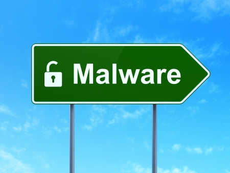 Safety concept: Malware and Opened Padlock icon on green road (highway) sign, clear blue sky background, 3d render photo