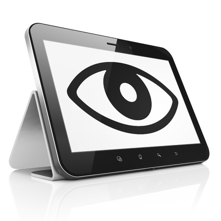 Security concept: black tablet pc computer with Eye icon on display. Modern portable touch pad on White background, 3d render photo
