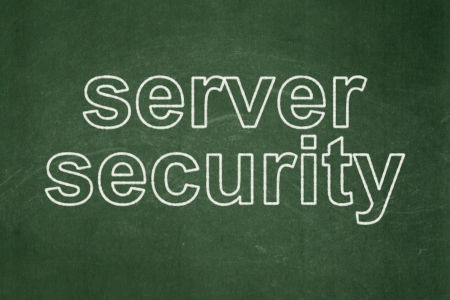 Protection concept: text Server Security on Green chalkboard background, 3d render photo