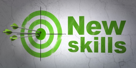 Success Education concept: arrows hitting the center of target, Green New Skills on wall background, 3d render photo
