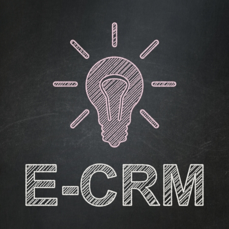ecrm: Business concept: Light Bulb icon and text E-CRM on Black chalkboard background, 3d render
