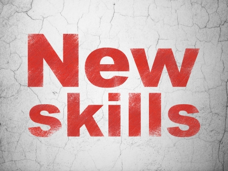 Education concept: Red New Skills on textured concrete wall background, 3d render photo