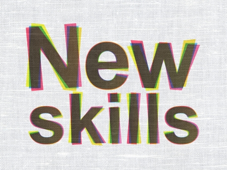 Education concept: CMYK New Skills on linen fabric texture background, 3d render photo