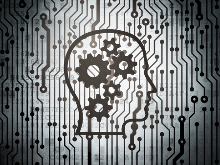 Advertising concept: circuit board with  Head With Gears icon, 3d render photo