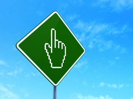 Social network concept: Mouse Cursor on green road (highway) sign, clear blue sky background, 3d render photo