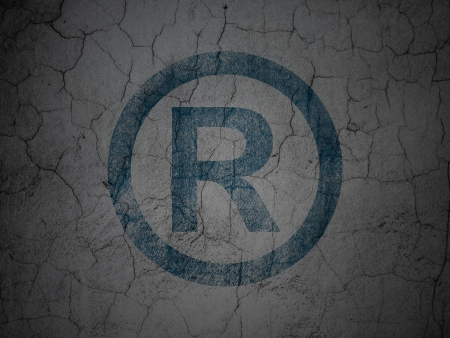 r regulation: Law concept: Blue Registered on grunge textured concrete wall background, 3d render Stock Photo